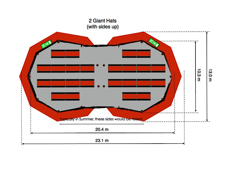 Floorplan for 2 tipis, one containing 9 sets of tables around a firepit, the other containing a stage, with 8 tables looking towards it