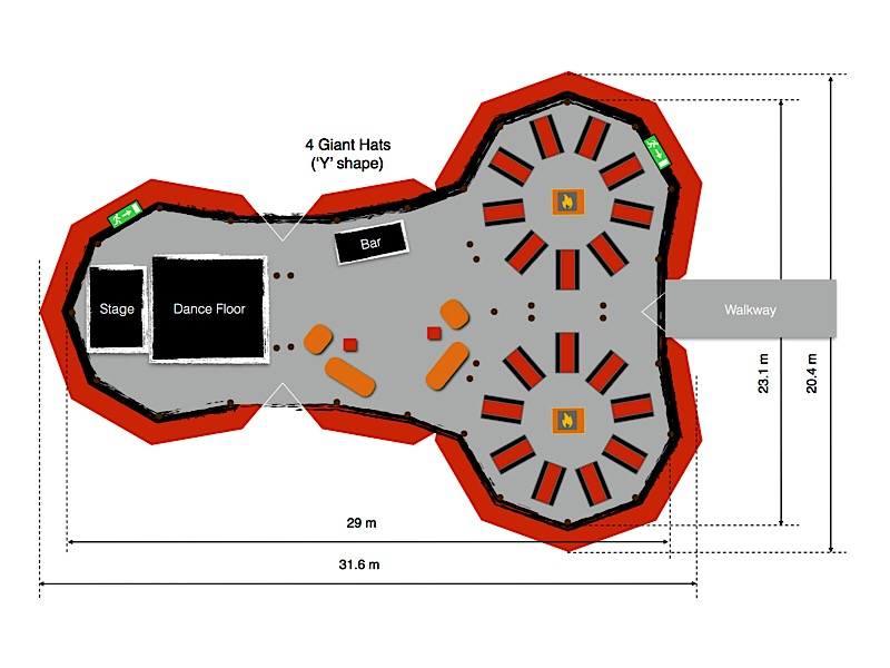 Floorplan for 1 tipi diameter of 10.3 metres, 9 sets of tables around a firepit in the centre.